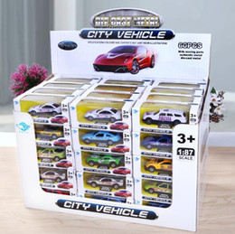 diecast sports cars 2019 - 1:87 Mini Alloy Car Model Cartoon Sports Car Metal Taxi Model Toys for Boy Birthday Christmas Gift Diecast Model Cars CC