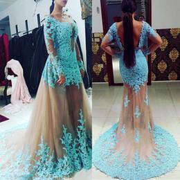 d4ef8224c30a Tulle Bateau Neckline Mermaid Abiti formali con gonna staccabile Blue Lace  Applique maniche lunghe pelle Tulle Prom Gowns abiti da festa