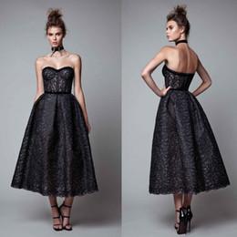 Berta Black Summer Dresses Australia - Berta 2019 Black Prom Dresses High Quality Lace Applique Evening Dress Sweetheart Neck Tea Length Party Gowns