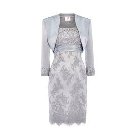 Silber Spitze Kleider für die Brautmutter Scoop Pailletten Perlen Satin Knielang Mutter Brautkleider mit Jacke im Angebot