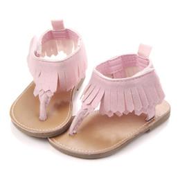 Brown Toddler Sandals Australia - Infant Baby Girls Tassels Premium Soft Rubber Sole Anti-Slip Summer Prewalker Toddler Sandals