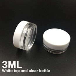 China Free shipping White Top 3G Travel transparent round cream pot 3ML jars pot container clear plastic sample container for nail art storage suppliers