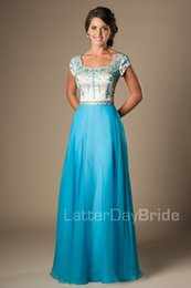Beaded Modest Prom Dresses Canada - Long Blue Embroidery Chiffon Long Modest Prom Dresses With Cap Sleeves Beaded A-line Summer High School Formal Party Dresses Evening Gowns