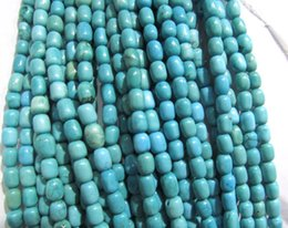 Necklace drum online shopping - 2strands x8 x10mm turquoise Beads Turquoise stone drum barrel blue blue pink red turquoise necklace stone beads