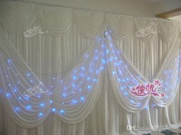 Discount backdrop swags - Luxury 3*6m 10ft*20ft ice silk White Color wedding Drape curtain with Angel wings Swag Stage Prop Fashion Drape Curtain
