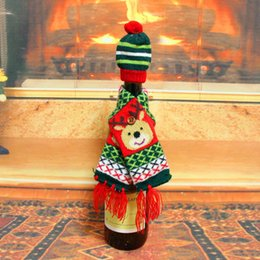 $enCountryForm.capitalKeyWord Canada - 50pcs lot NEW Wine Bottle Cover (Cap+Scarf) Christmas Decoration Ornaments Dinner Party Gifts for Home Decor