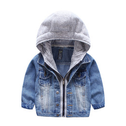 China 2018 New Kids Jacket washed Denim coat with hood knitted Fake 2pcs Fall Winter boys outwear Fashion children Clothing quality cheap kids jackets fashion suppliers