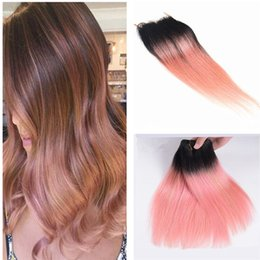 $enCountryForm.capitalKeyWord NZ - Two Tone 1B Pink Dark Root Pink Ombre 13x4 Full Lace Frontal Closure With 3 Bundles Virgin Peruvian Straight Human Hair Extensions