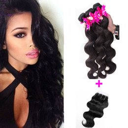 Hair Straightening Products Wholesale NZ - Malaysian Virgin Hair With Closure 7A Malaysian Lace Closure Rosa Hair Products With Closure Hair 3 Bundles Body Wave With 4x4 Lace Closures