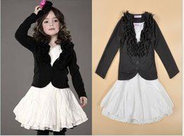 Longue Jupe Noire Enfants Pas Cher-Grossiste Filles Bébé Vêtements pour enfants Vêtements Ensembles de vêtements pour enfants Ensembles de vêtements noirs Outwear Robes blanches Ensemble Habillement Vêtements Costumes