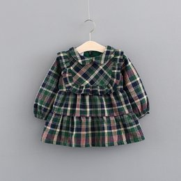 Tutúes Verdes De Las Muchachas Baratos-Everweekend Toddler Baby Girls Plaid Ruffles Western Dress Niños lindos Niños Western Fashion Candy Green Dresses