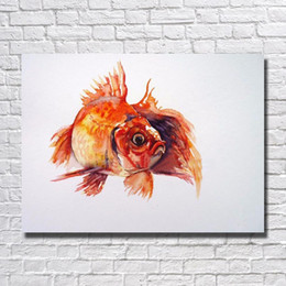 Modern Wall Art Decor Cheap NZ - High Quality Modern Beautiful Fish Oil Painting Modern Canvas Art Living Room Wall Decor Cheap Modern Animal Oil Painting No Framed