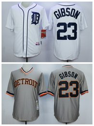e1ea4ac26cb ... Detroit Tigers 23 Kirk Gibson 1968 Grey Road Throwback Jersey ...