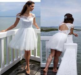 Discount knee length wedding dress scoop back - Short Beach Wedding Dresses Cheap Scoop Neckline Short Capped Sleeve Wedding Gowns With Applique Open Back Knee-Length C