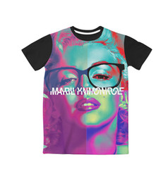 Maillot Taille Marilyn Monroe Pas Cher-3 Couleurs Réel USA Taille Trippy Marilyn Monroe Personnalisé 3D Sublimation impression T-Shirt Plus taille