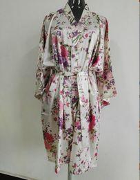 Blue Shirt For Wedding Canada - Silk Satin Wedding Bride Bridesmaid Robe Floral Bathrobe Short Flower Kimono Robe Fashion Dressing Night Gown For Women