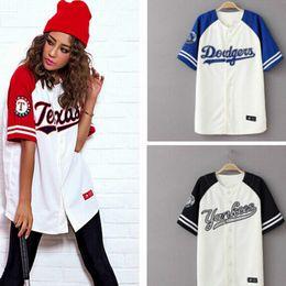 Venta al por mayor de Al por mayor-2016 Verano Hip Hop Deportes Baseball Camiseta de estilo coreano Flojo Unisex para mujer para hombre Tops Tide mujeres camiseta S-3XL