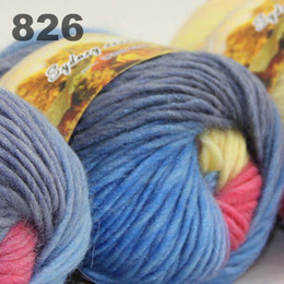 $enCountryForm.capitalKeyWord Canada - colorful hand-knitted wool line segment dyed coarse lines fancy knitting hats scarves thick line Light Blue Yellow Pink 522-826
