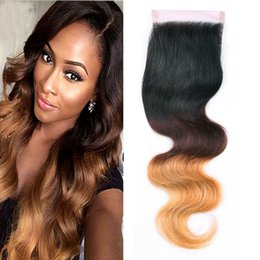 Discount black honey blonde ombre - T1b 4 27 Ombre Peruvian Body Wave Lace Closure Black Brown Honey Blonde Three Tone Human Virgin Hair Top Closure 4*4 inc
