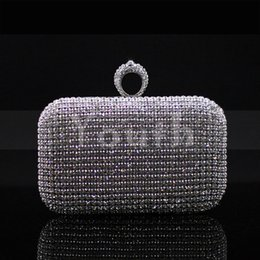 $enCountryForm.capitalKeyWord Canada - Rhinestone Ring Clasp Net Diamond Encrusted Clutch Crystal Evening Bag Cutout Women Handbag Banquet Purse for Party and Wedding - RC023