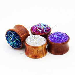 ceramics piercing UK - Flash Rosewood Ear plugs piercing tunnels body jewelry with fashion shiny stone design ear gauges free shipping
