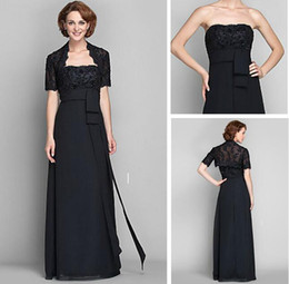 gold mum UK - Black Mum Dresses Wrap Included Short Sleeves Floor-length Chiffon with Appliques Beadings Column Strapless Mother of the Bride Dress
