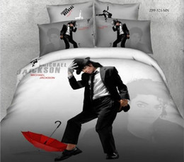 Queen Bedspread Set Canada - Hot sale Michael Jackson reactive printing bedding set 100% cotton fabric bed sheet duvet quilt cover bedspreads 4 5pc comforter sets queen