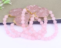 Wholesale Druzy Bracelet Canada - 5 pcs Natural Druzy Pink Quartz Stone Connector Bracelets,With 8mm Natural Pink Quartz Beaded Bracelets,Charm DIY
