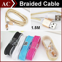 $enCountryForm.capitalKeyWord Canada - 5FT 1.5M Long Strong Fabric Nylon Braided Micro USB Charging Cable Line For Smart Phones Samsung HTC Sony LG Best Wire With Metal Head Plug