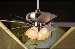 Vintage Antique Bulbs Canada - Dining room bedroom 42inch fan chandelier light fan light chandelier continental antique vintage fan chandelier with controller