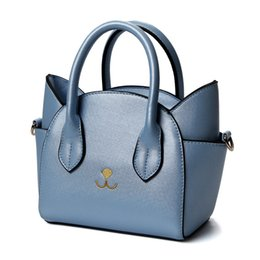 $enCountryForm.capitalKeyWord UK - 2017 New PU Leather Handbags Funny Cat Ear Design Embroidery Shoulder Bag Small Tote Trapeze Bag for Women Messenger Bags