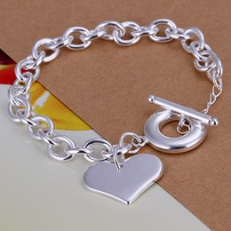 silver chains rolo bracelets NZ - Heart Charms Rolo Chain Bracelets & Bangle 925 Sterling Silver Jewelry Silver Plated Curb-chain Link Toggle-clasps Bracelet Gift for Lovers