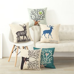 Happy Christmas Colorful Elk Pattern Pillow Case Square Linen Cotton Printed Pillowcase Chair Home Decorative Cover AL001A017