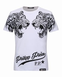 Barato Marca Dupla-Cheap Mens T-shirts Double Tiger Heads com cristais 3D Printed Polo t shirts Brand Short Sleeve Casual Masculino Camiseta 18234