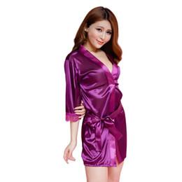 Wholesale- 2017 Hot Sexy Lingerie Bathrobe Satin Womens Nightgowns Soft Ice  Silk Nighty Dress Sexy Babydoll Sleepwear Night Dress 845ec8bc5