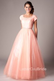 Modest Prom Dress Cheap Canada - Coral Long A-line Modest Prom Dresses With Cap Sleeves Floor Length Crystals Tulle Teens High School Modest Evening Prom Gowns Cheap Sale