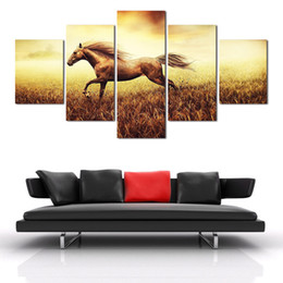 $enCountryForm.capitalKeyWord UK - 2016 New 5 Pieces Free Shipping Painting Home Decoration Wall Art Decoration Chinese Running Horse Painting Good Quality
