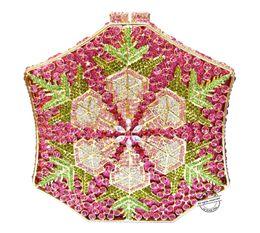 Crystal designer evening bags online shopping - New designer box clutch bags luxury crystal evening bags heptagon Handcraft rhinestone party purse women handbags