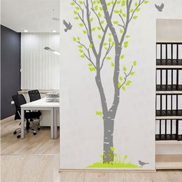 Famous Trees Canada - Big Green Birch Tree Forest Bird Wallpaper Large Wall stickers Removable Living Room Bedroom TV Sofa Background setting Free DHL