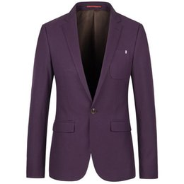 Barato Casacos Roxos Casuais Para Homens-2017 Men Casual Suit Jacket Moda Slim Fit Blazer Men Suit Jacket Plus Size Masculino Blazers Mens Coat Purple / Blue Wedding Dress