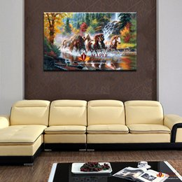 abstract art painting horses oils Canada - HUGE MODERN ABSTRACT OIL PAINTING PRINTED ON CANVAS RUNNING HORSE HOME DECORTION WALL ART PICTURE FOR LIVING ROOM NO FRAMED