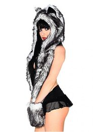Winter Hats For Women With Ears Grils White Wolf Anime Faux Animal Hood Hoods Mittens Gloves Scarf Spirit Paws Ears Warm from boy girls lycra clothing suppliers