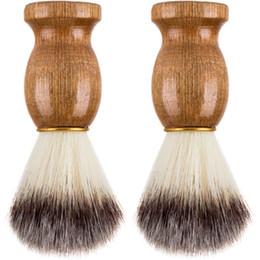 $enCountryForm.capitalKeyWord Australia - Barber Hair Shaving Razor Brushes Natural Wood Handle Nylon Bristle Beard Brush For Men Best Gift Barber Tool CCA6824 100pcs
