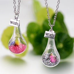 Wholesale Fashion Wish Wishing floating bottle pendant crystal Flower Locket Dried Flower Necklace for women Float Locket Living jewelry