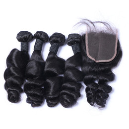$enCountryForm.capitalKeyWord NZ - Cool 8A Quality Indian Loose Wave with one 4*4 Lace closure 100% Unprocessed Human No Shedding Free Tangle Full Free Shipping Fee