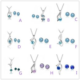 $enCountryForm.capitalKeyWord NZ - Fashion White Gold Austrian Crystal Jewelry Sets rhinestone Pendant Necklace Earrings Wedding Part Prom Jewelry Sets Can be Mixed