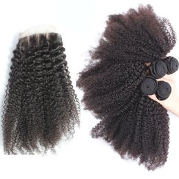 $enCountryForm.capitalKeyWord NZ - 3 Way Part Afro Kinky Curly Brazilian 4x4 Lace Top Closure With 4Pcs Virgin Brazilian Human Hair 4Bundles With Lace Closure 5Pcs Lot