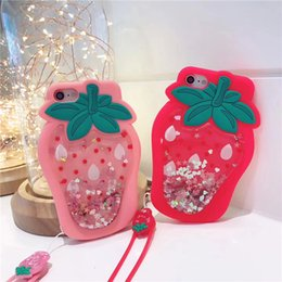 3d Phones Case Cover Canada - For iPhone 8 Case 3D Cartoon Strawberry Liquid Glitter Cases for iPhone 7 Plus Dynamic Quicksand Transparent Soft Silicone Phone Cover Case