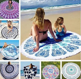 circle beach towels 2019 - 36 Types Summer Large Polyester Printed Round Beach Towels With Tassel Circle Beach Towel Serviette De Plage 150*150cm F