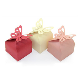 Diy Party Favors Gift Boxes Pas Cher-Box 500pcs Papillon Craft Paper Sucrerie DIY Party Folding Box Boîtes Coffrets cadeaux Chocolate Wedding Favors Livraison gratuite ZA01002